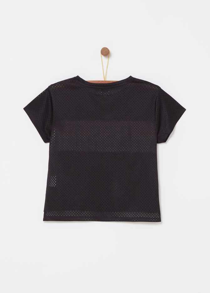 Openwork mesh T-shirt with print and diamantés
