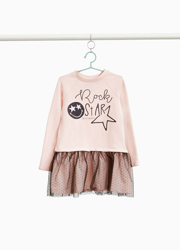 Vestitino con gonna in tulle e stampa