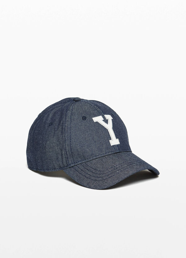 Denim baseball cap with embroidery