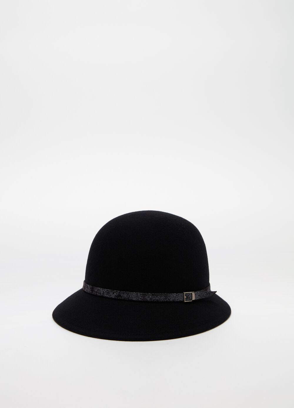 Felt cloche hat with strap