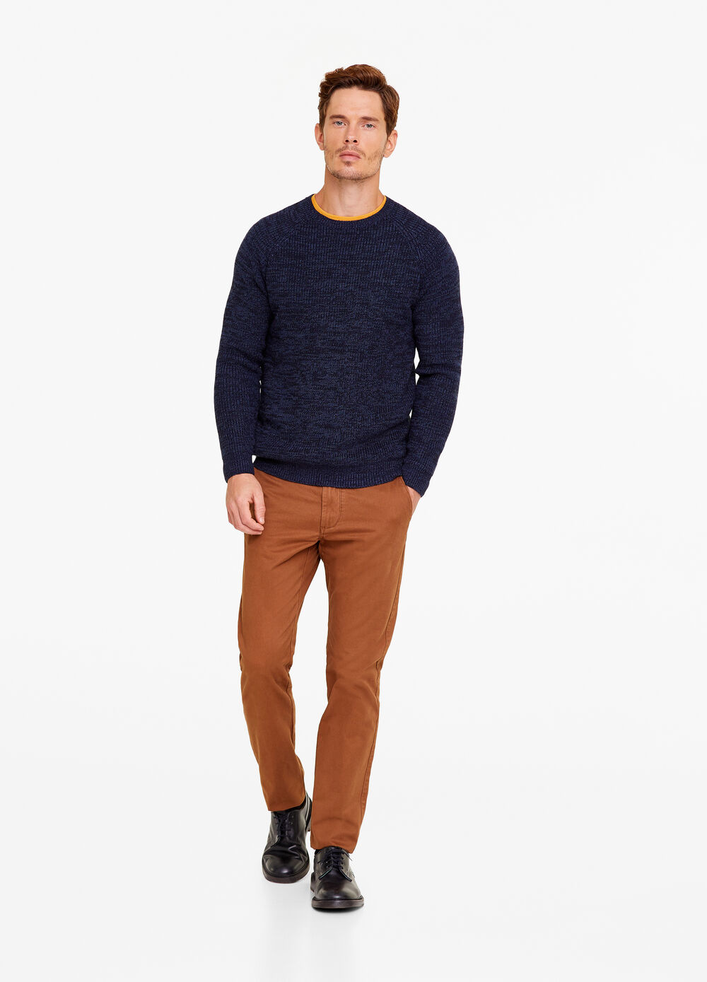 Mélange pullover with round neck