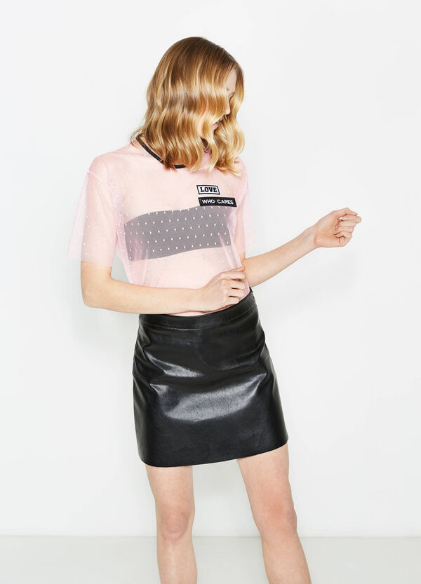 Stretch tulle T-shirt with polka dot pattern | OVS