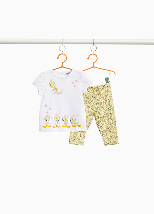 Stretch cotton outfit with Tweetie Pie pattern
