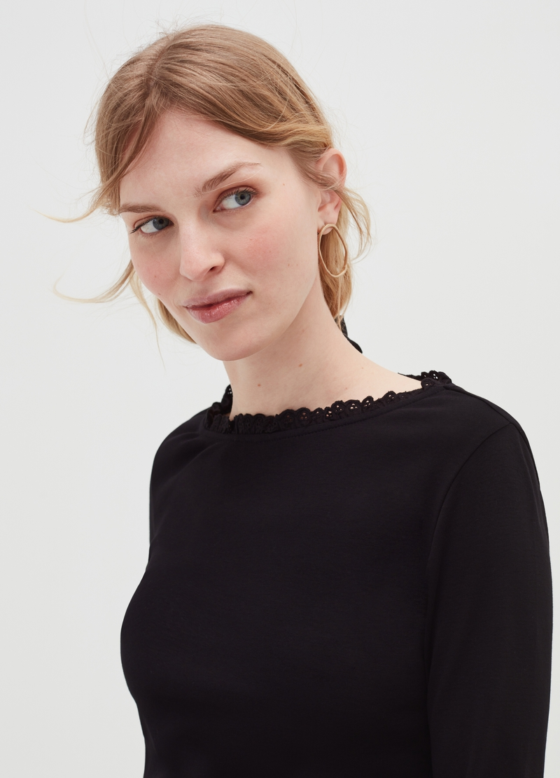 T-shirt with broderie anglaise lace inserts image number null