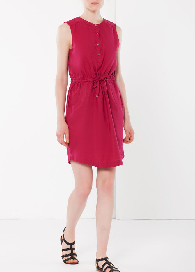 Sleeveless shirt dress with drawstring