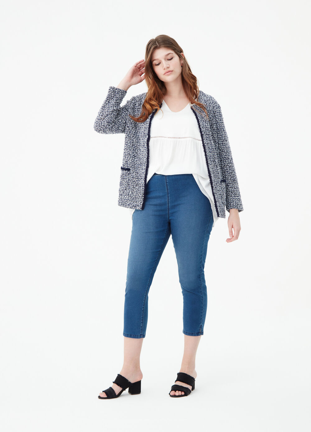 Curvy washed-effect crop jeggings