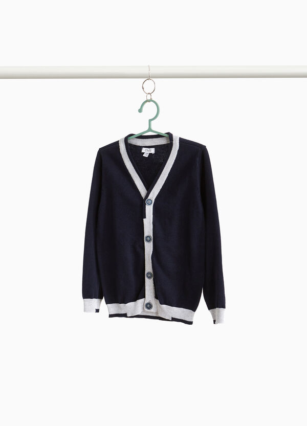 Cardigan in 100% cotton with contrasting trim