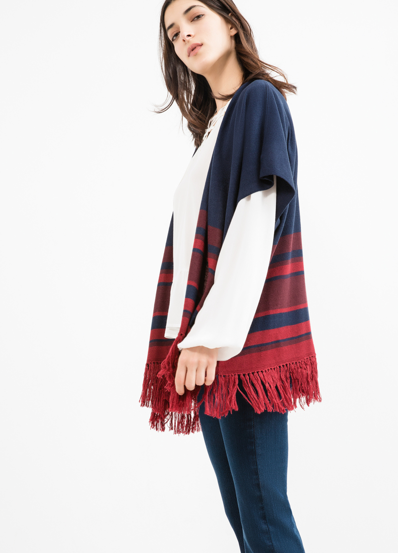 Cardigan con frange fantasia a righe image number null