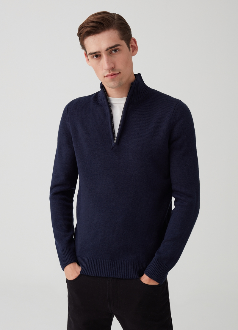 Knitted pullover with high neck and zip image number null