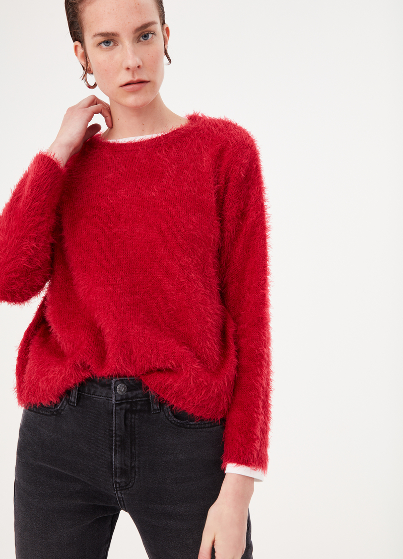 Top with fur-effect yarn image number null
