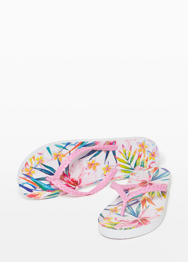 Rubber flip flops with braided straps