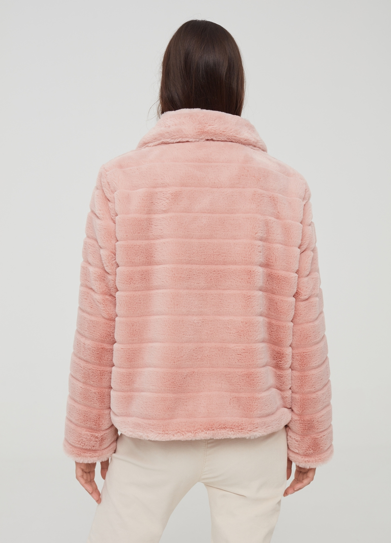 Faux fur jacket with collar image number null