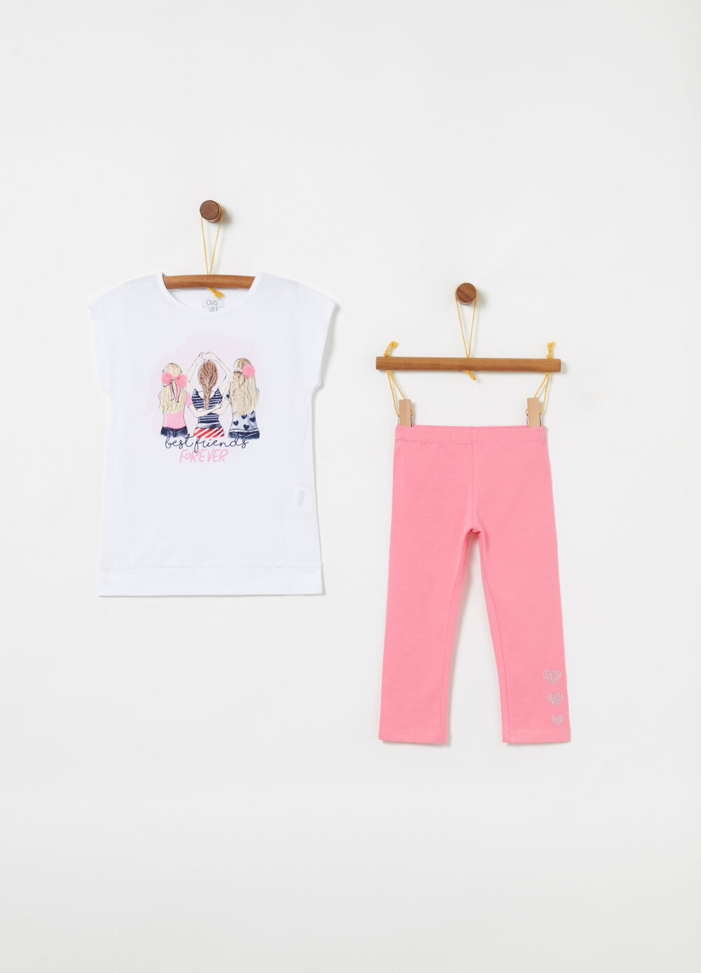 Jogging set t-shirt leggings stampa glitter