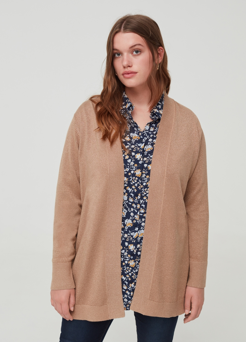 Curvy edge-to-edge cardigan with lurex image number null