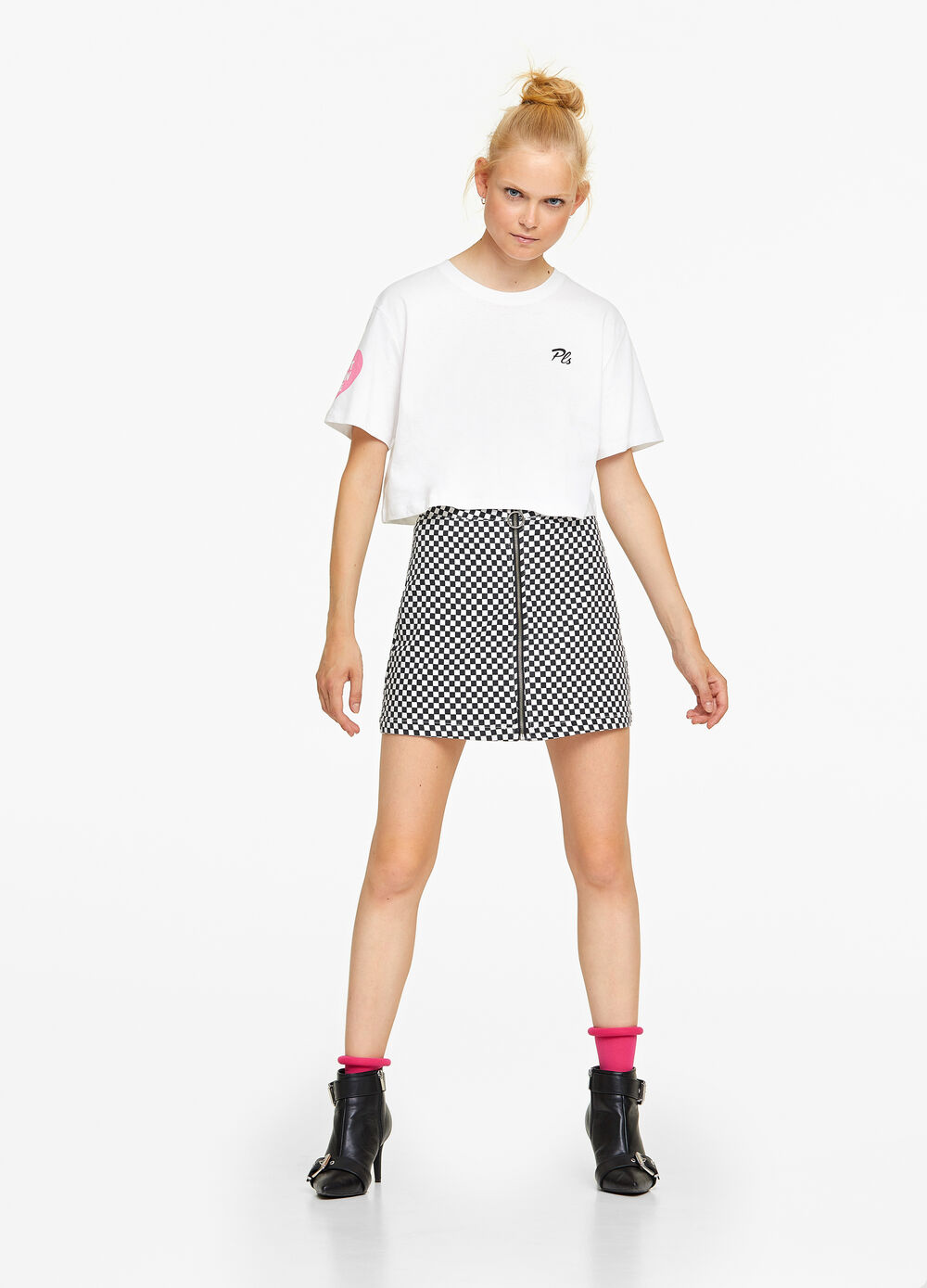 Printed 100% cotton cropped T-shirt