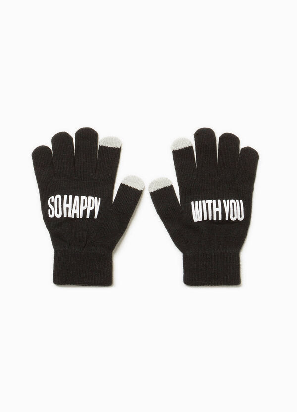 Touch-screen gloves with lettering print | OVS