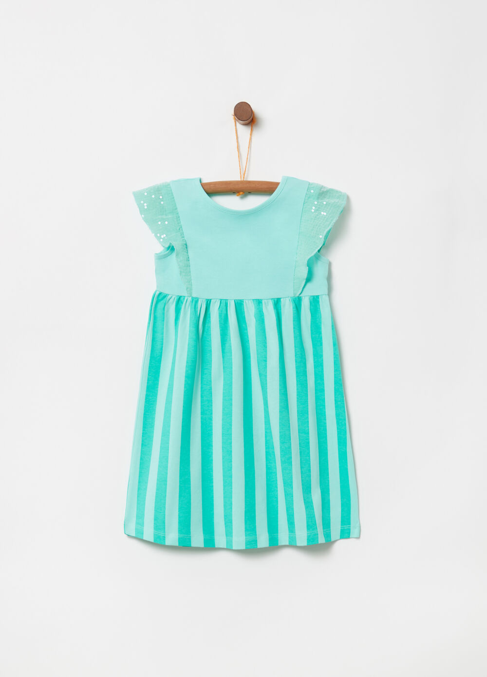 Dress with flounce, sequins and stripes