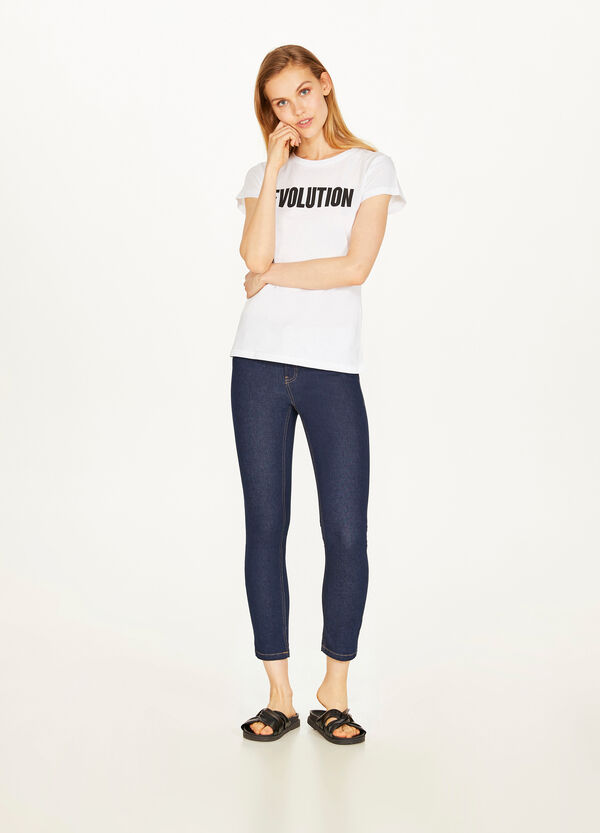 Jeans crop skinny fit stretch tinta unita