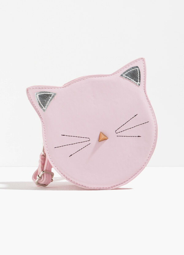 Cat-shaped shoulder bag with patch