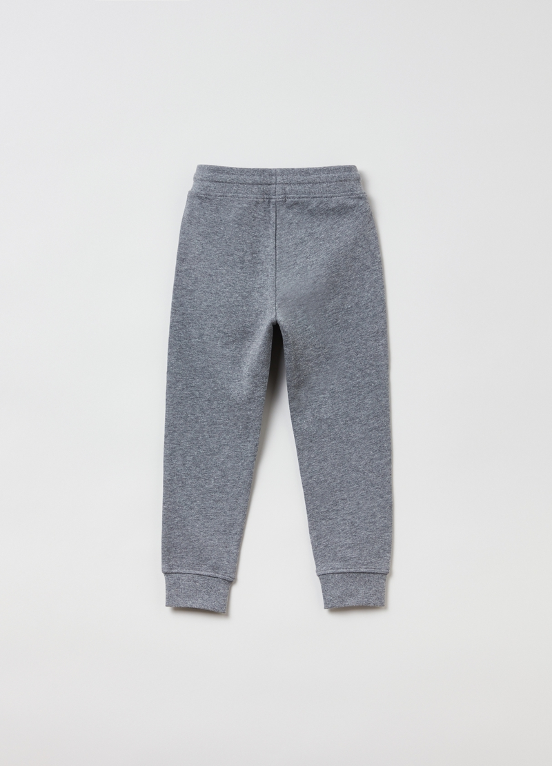 Mélange fleece joggers with drawstring image number null
