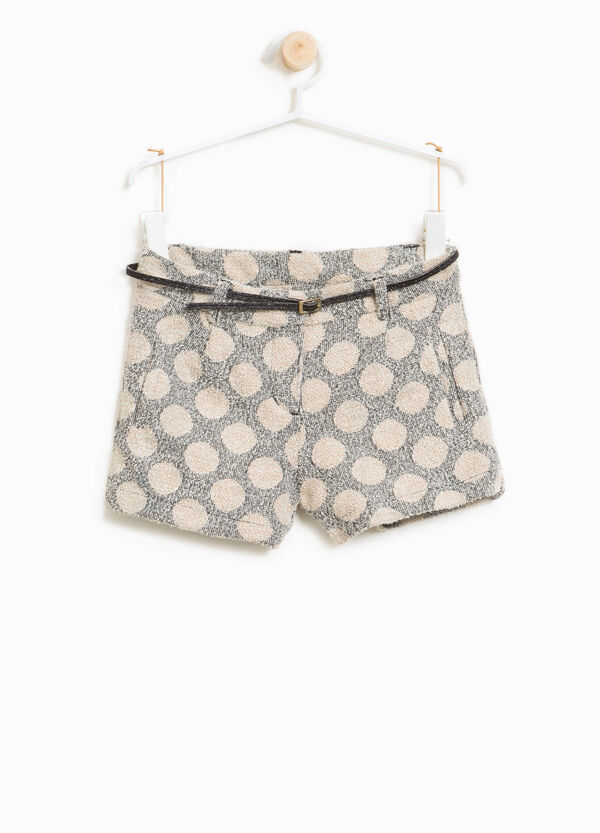 Shorts misto viscosa stretch a pois