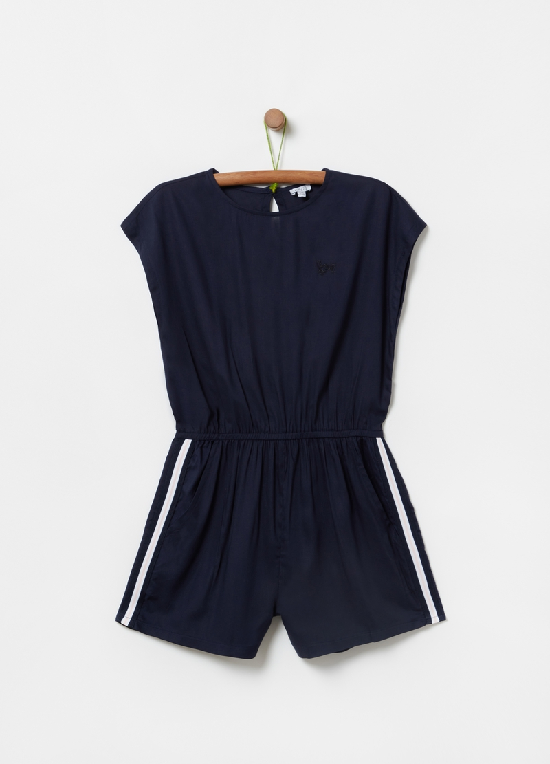 Solid colour playsuit in 100% viscose image number null