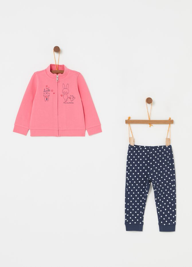 Jogging set con stampa e fantasia