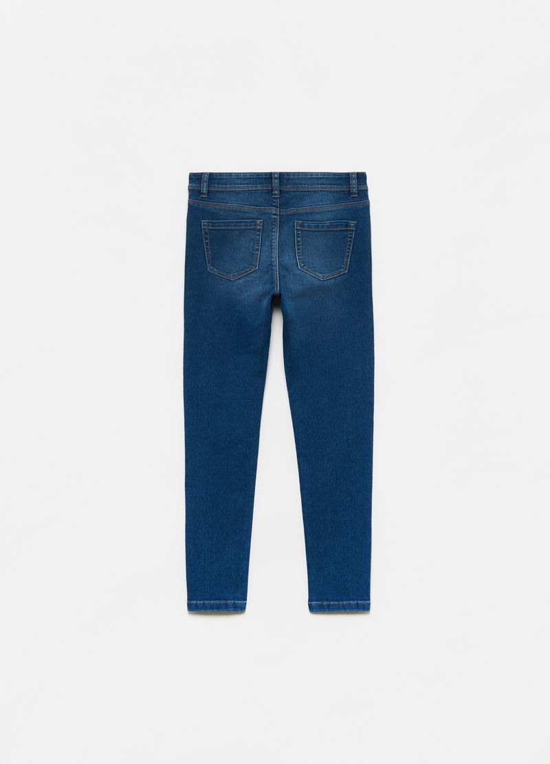 Stretch cotton blend jeans with five pockets image number null