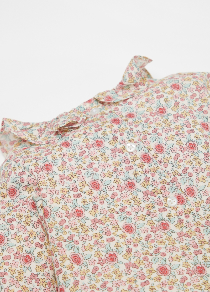 Blouse with frill and small flowers pattern image number null