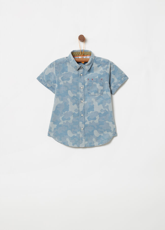 Denim shirt with camouflage jacquard