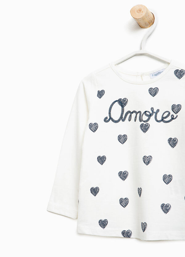 T-shirt with maxi lettering print and hearts | OVS