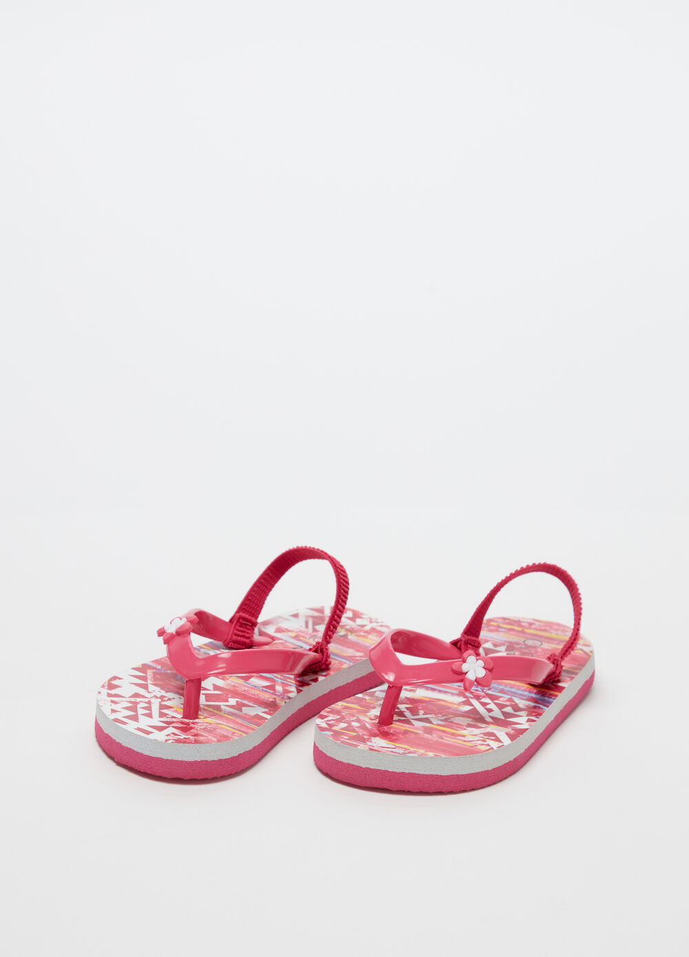 Thong sandals with flower on the laces and pattern