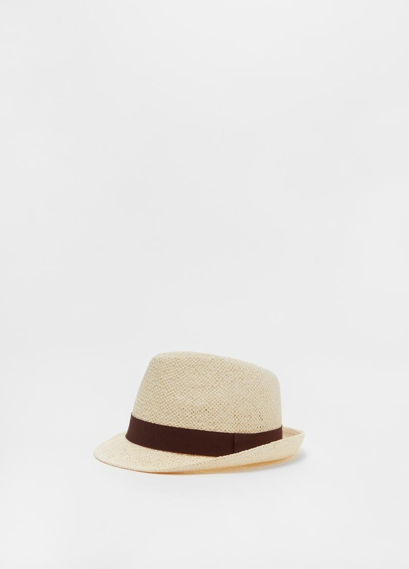 Solid colour hat with ribbon image number null