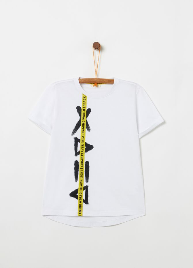 Solid colour cotton T-shirt with print