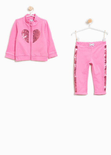 Stretch cotton tracksuit with hearts sequins