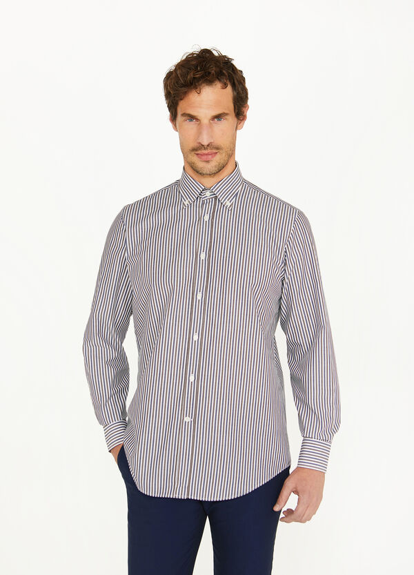 Regular-fit formal shirt in striped cotton