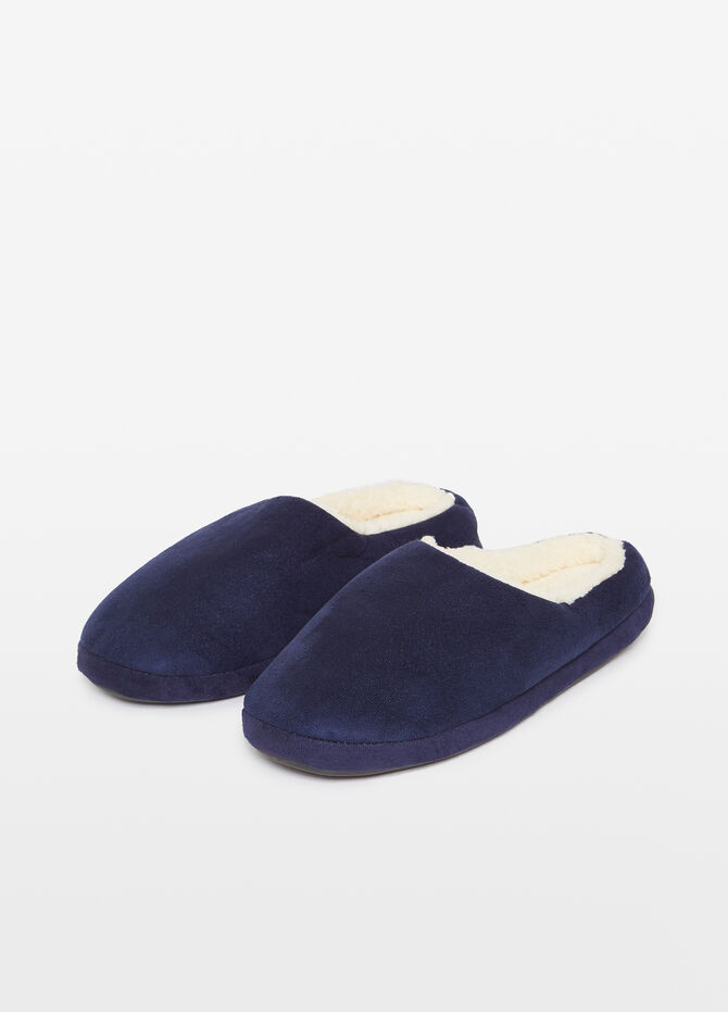 Slippers with faux fur effect lining