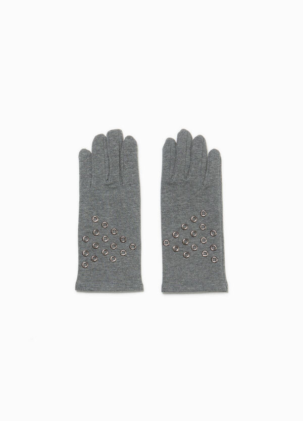 Cotton blend gloves with eyelets