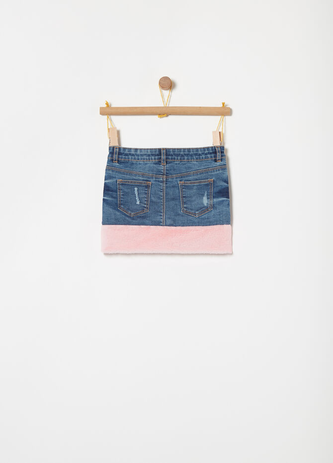 Gonna jeans stretch used con ecopelliccia
