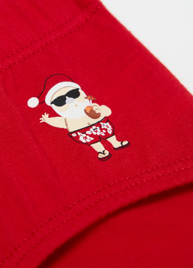 100% cotton briefs with Father Christmas print image number null