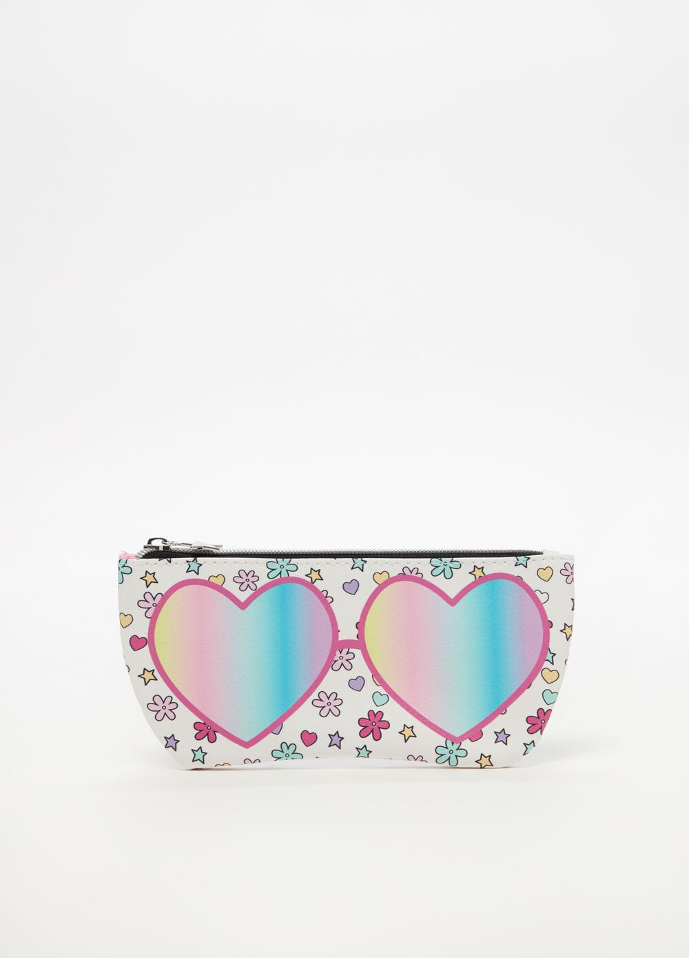 Beauty bag with zip and sunglasses print