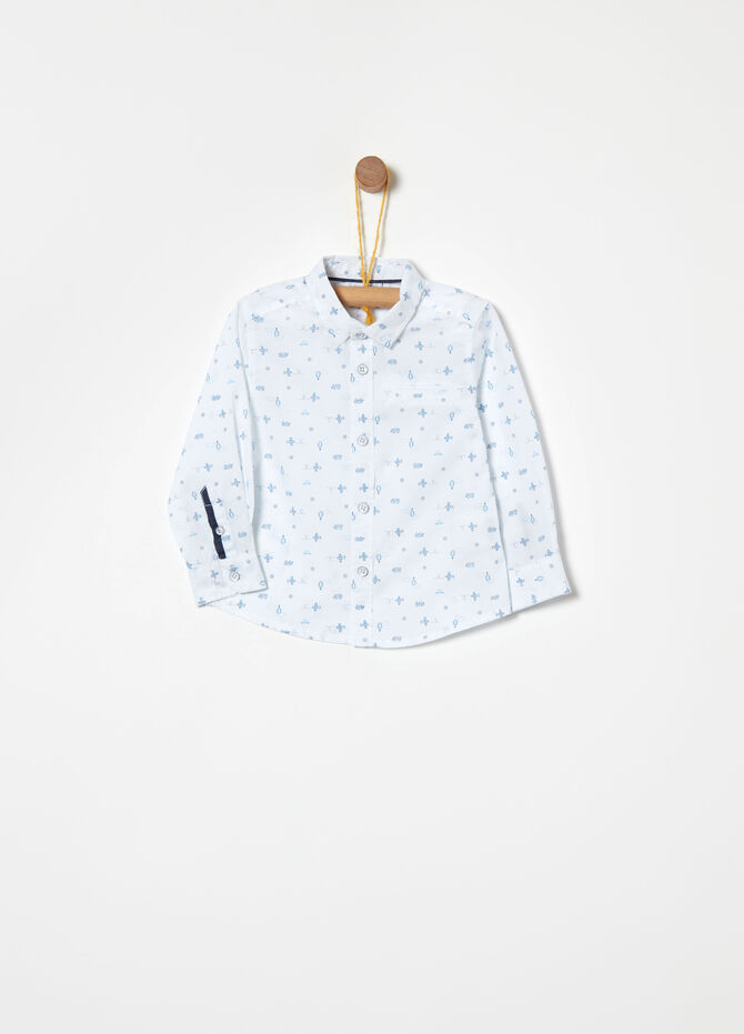 Aeroplane and hot air balloons cotton shirt