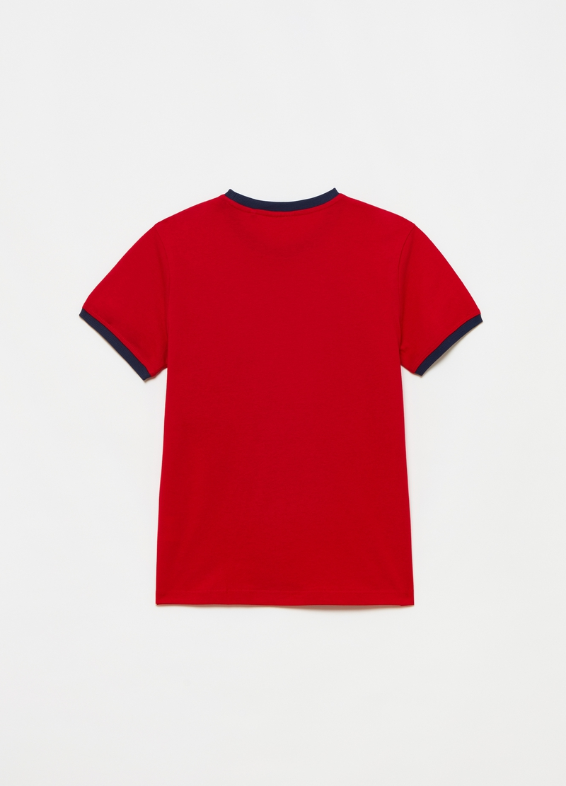 Cotton T-shirt with contrasting details image number null
