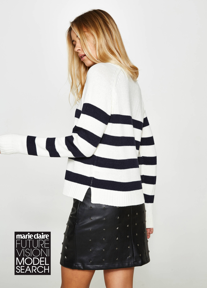 Pullover with striped high neck image number null