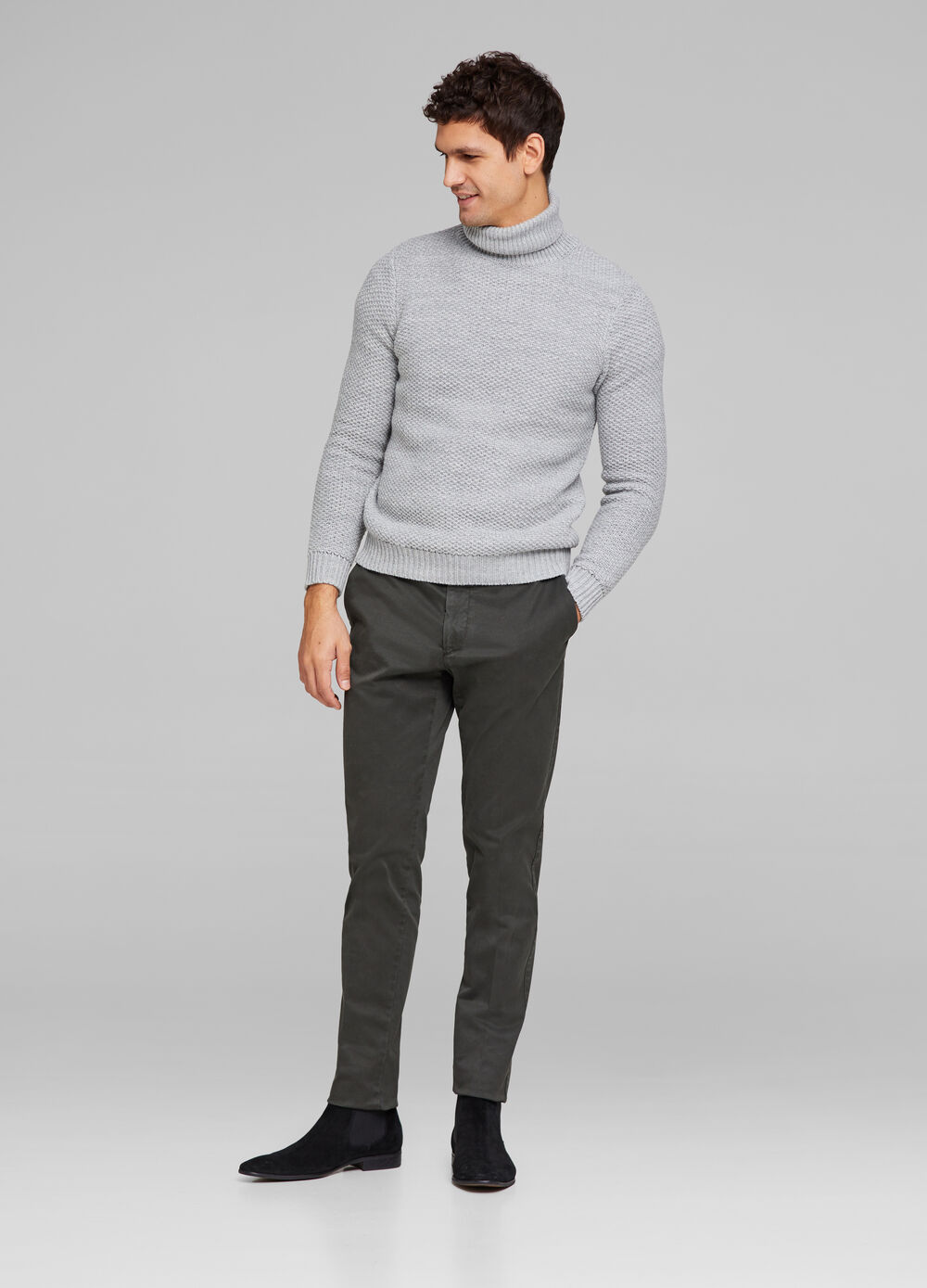 Rumford solid colour stretch trousers