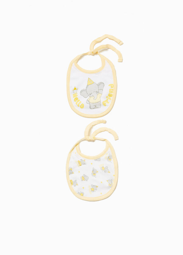 Two-pack elephant cotton bibs