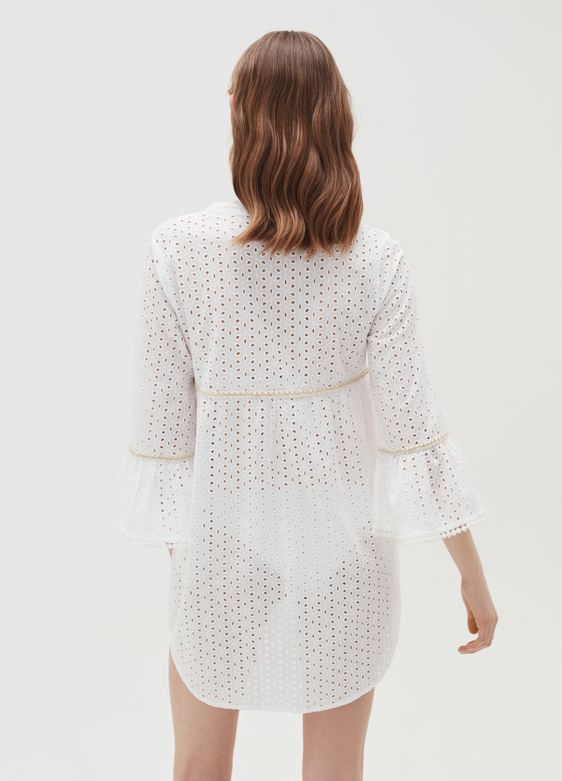 Beach cover-up in broderie anglaise image number null