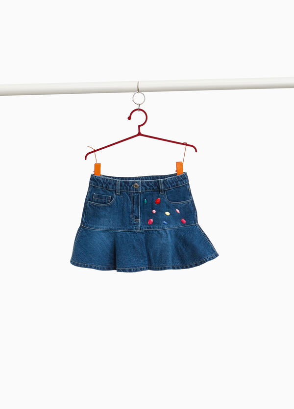 Denim skirt with flounces and beads