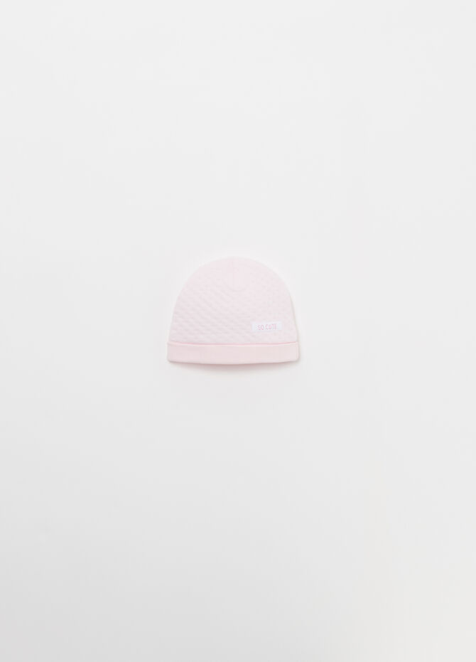 BCI cotton hat with layered jacquard