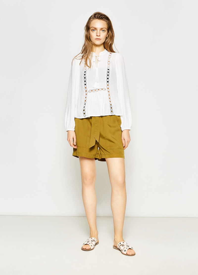 Openwork blouse with tassels image number null